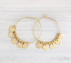Gold Disc Earrings - Gold Fringe Earrings Hoop Earrings Boho Chic Earrings - List of the most beautiful jewelry Bar Stud Earrings, Fringe Earrings, Circle Earrings, Gold Hoop Earrings, Diamond Earrings, Tassel Necklace, Minimalist Earrings, Minimalist Jewelry, Charm Armband