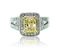 1.90 Ct Diamond, 1.35 Ct Center Yellow Diamond 6.9g 14k White Gold Engagement Ring | Victorian Jewelry