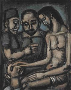 Georges Rouault (1871-1958)   Christ guérissant un aveugle   signed 'G Rouault' (lower right)   gouache, watercolor, brush and India ink and pastel on paper   23 3/8 x 18 1/8 in. (59.4 x 46 cm.)
