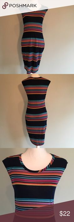 Pipelime Striped Summer Dress Medium Good pre-worn condition. Flattering dress by Hive & Honey (from Piperlime). Lightweight. 100% polyester. Navy with multicolor stripes. Piperlime Dresses Midi