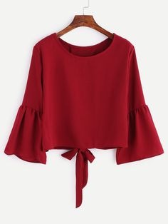 Burgundy Bell Sleeve Bow Tie Back Blouse — 0.00 € ---------------color: Burgundy size: one-size