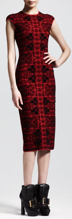 Alexander McQueen Stained Glass Knit Sheath Dress - Neiman Marcus