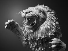 laughingsquid:  Lion Sculpture Made Out of Shredded Hotel Receipts