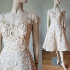 Dreamy Illusion Lace Dress with Appliques and Rhinestones / Lace Dress / Formal Bridal / Party Dress / Small KittyGirlVintage 5 out of 5 stars 1950s Party Dresses, Vintage Summer Dresses, 1940s Dresses, Junior Dresses, Halter Dress Formal, Semi Formal Dresses, Lace Dress, Lace Evening Gowns, Lace Bridesmaid Dresses