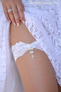 White Wedding Garter Set Stretch Lace Bridal by BridalSpecialDay