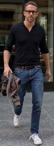Ryan Reynolds in a casual combo with a Henley denim chuck Taylor's   #ryanreynolds #ryanreynoldsstyle #casual #casualstyle #henley #denim #chucktaylors #celebrities #celebrity #mensfashion #menswear