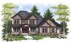 Craftsman Style House Plans - 3617 Square Foot Home , 2 Story, 4 Bedroom and 3 Bath, 3 Garage Stalls by Monster House Plans - Plan 7-716