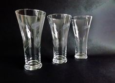 3 Vintage Etched Crystal Ale Glasses, Pilsner Lager Tumblers, Wheat Beer Glass, Etched Barware, Glassware, Home Bar, Juice Lemonade Water by CuriosAnCollectibles on Etsy