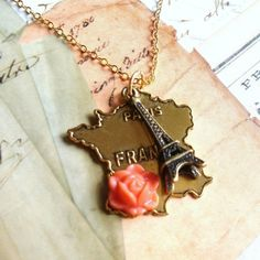Paris France Eiffel Tower Necklace in Gold FREE by Lanyapi on Etsy, $48.00