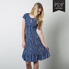 Buy a women's dress pattern for knit dresses, knit dress, keyhole neckline dress with flared skirt. Independent pattern designer. Made in Canada. Printed paper sewing pattern.