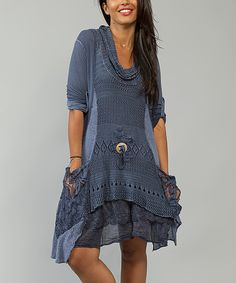 Look at this Cath & Sophie Blue Jean Embroidered Layer Dress on #zulily today!