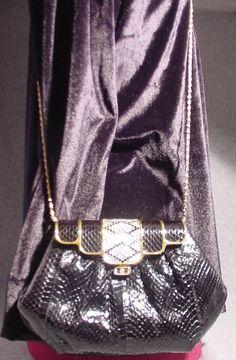 Vintage SASHA New York Purse,Handbag, Clutch Snakeskin & Rhinestone. $50.00, via Etsy.