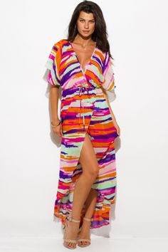 SAO PAOLO | fuschia purple abstract print semi sheer chiffon kimono sleeve high slit boho maxi sun dress - 1015store.com