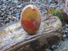 A large statement ring in a yellow and red Oregon Jasper.  Size 8, #450 by Sandy River Jewelry