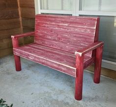 Red rustic bench