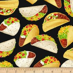 Taco Fabric / Foodie Taco Yardage / Taco Food Fabric / Tossed Taco Fabric Black / Timeless Treasures Tacos by the yard & Fat Quarters This cotton fabric. Fabric width is Similar Fabrics Here: Hancocks Of Paducah, Tacos, Timeless Treasures Fabric, Food Themes, Novelty Print, Taco Tuesday, Black Fabric, Fabric Weights, Ornaments