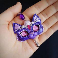 Purple Purrmaid Kitty Sea Cat OOAK Mermaid  Necklace