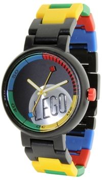 LEGO Unisex LEGO Classic Silver Stud 340820 Black Plastic Quartz Watch with Black Dial. Bold and unexpected, yet surprisingly sleek and stylish, the Midsize Classic Silver LEGO Stud Dial Black Watch pays homage to a favorite childhood brand with an ultra-modern design. A black, circular, plastic case surrounds a dramatic black dial, complete with colorful border and silver logo between four and six o'clock. There's also a unique bracelet band made of black, red, yellow, green, and blue…