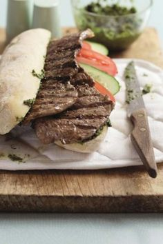Try this recipe with your favourite bread. Easy Steak Recipes, Cooking Recipes, Chunky Chips, Salsa Verde Recipe, Beef Sirloin, Yum Yum, Sandwiches, Bread, Homemade