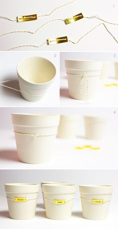 DIY Charmed Flowerpots Tutorial.  These make fabulous gifts and party favors for showers!