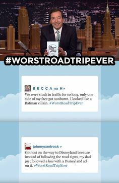 The Tonight Show Starring Jimmy Fallon Page Liked · 6 mins · Jimmy reads some of your funniest #WorstRoadTripEver tweets.… http://ibeebz.com