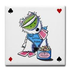 Poker Pup Westie Tile Coaster    by Kim Niles. Kim is a children's book illustrator and author, as well as the artist, designer and owner of 'KiniArt'.