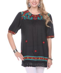 Look at this Ananda's Collection Black Embroidered Peasant Tunic on #zulily today!