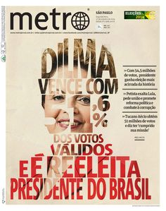 Dilma wins with 51.6 % of the votes and is re-elected president of Brazil