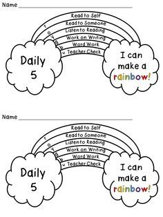 Daily 5 (or centers) Rainbow Tracker Freebie Students color in which activity they did each day on the rainbow, and then when they complete all you check it, they color in the part. Daily 5 Reading, First Grade Reading, Guided Reading, Reading Fluency, Guided Math, Work On Writing, Writing Words, Daily 5 Kindergarten, Daily 5 Math