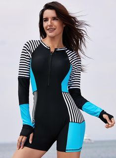 39e5e9d4eba35 Joygos Chic Striped Color Block Romper Rashguard Sporty Swimwear, Summer  Swimwear, Bikini Swimwear,