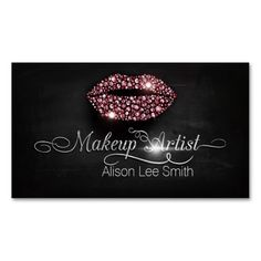 Makeup Artist/Diamonds Sparkle Lips Double-Sided Standard Business Cards (Pack Of 100)