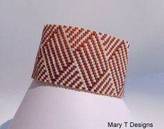 Brown and Cream Peyote Cuff Bracelet  *wish there was a pattern for this