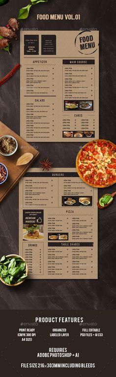 Food Menu Template PSD, AI Illustrator. Download here: https://graphicriver.net/item/food-menu/17322494?ref=ksioks