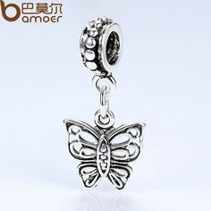 BAMOER Brand New Butterfly Silver Plated Charms Women DIY Fashion Jewelry Necklaces & Pendants Accessories PA5299