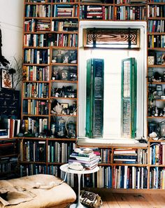 cottag style, courts, book nooks, shutter, bookcas, librari, shelv, books on books, cottag decor