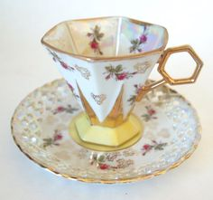 Vintage Teacup and Saucer Set Footed Royal Sealy Lusterware Tea Cup Yellow with Pink Roses and Gold Reticulated Saucer - Mid Century Japan