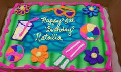 summer beach birthday cakes | Summer Themed Birthday Cake | Decorated sheet cake | Pinterest ...