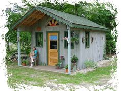 Rustic+Garden+Sheds+With+Porches | Rustic Garden Potting Shed with front porch and sunburst window in the ...