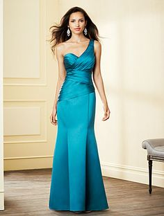 Alfred Angelo Style 7291L: floor length one shoulder satin bridesmaid dress