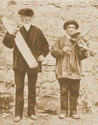 Collections of Basque folklore. Basque musicians: Photograph from The Secret Museum of Mankind, public domain in US due to non-renewal