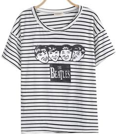 White Short Sleeve Striped Avatar Print T-Shirt pictures