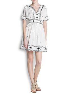 Cotton embroidered dress Mango