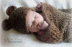More COLORS Newborn Baby Boy Crochet  Bear Hat & Cocoon .