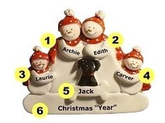 Personalized Snow Couple Family of 4 Ornament with Black Dog