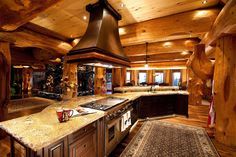 Luxury log cabin kitchens big white luxury log castle crafted from centuries old trees photos home decor stores near me cheap Log Cabin Kitchens, Log Cabin Homes, Log Cabins, Rustic Cabins, Log Home Living, Log Home Decorating, Cabins In The Woods, House Goals, Rustic Kitchen