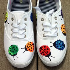 Handpainted sneakers, shoes, sneakers, ladybugs, original art, OOAK, bugs, womens sneakers,  handpainted. $32.00, via Etsy.