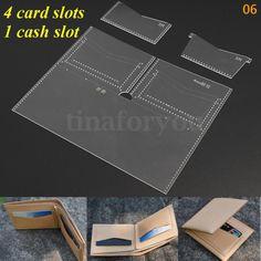 Plantilla De Cuero Acrílico Hazlo tú mismo 8 tipos de cartera de cuero patrón Leathercraft Kit Para
