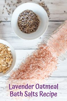 3 Nourishing Oatmeal Bath Salts Recipes for Dry Skin These easy oatmeal bath salts for dry skin are so hydrating and soothing! Three oatmeal bath soak recipes you Bath Recipes, No Salt Recipes, Lavender Bath Salts, Lush Bath, Oatmeal Bath, Epsom Salt Bath, Bath Salts Recipe, Dry Skin, Bath Soaks