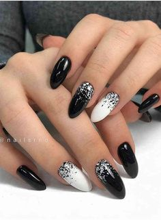 100 Pretty Winter Nail Design Ideas 2019 - Page 100 of 100 - Soflyme - Winter Nails Acrylic - Almond Nails Designs, Black Nail Designs, Winter Nail Designs, Nail Art Designs, Nail Ideas For Winter, Cute Acrylic Nails, Cute Nails, Pretty Nails, My Nails
