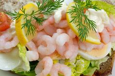 """A recipe for räksmörgås (an open prawn/shrimp sandwich which is of the classic dishes, described as """"A taste of heaven for mere mortals"""". Shrimp Sandwich, Paleo Stew, Paleo Recipes, Snack Recipes, Paleo Meals, Nordic Diet, Swedish Recipes, Swedish Foods, Gourmet"""